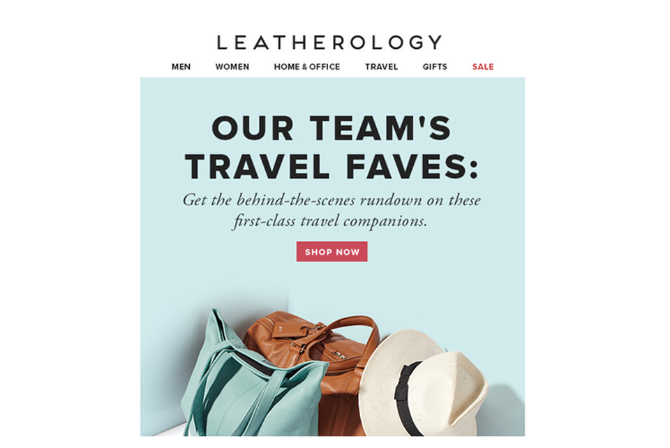 Email Marketing Example from Leatherology