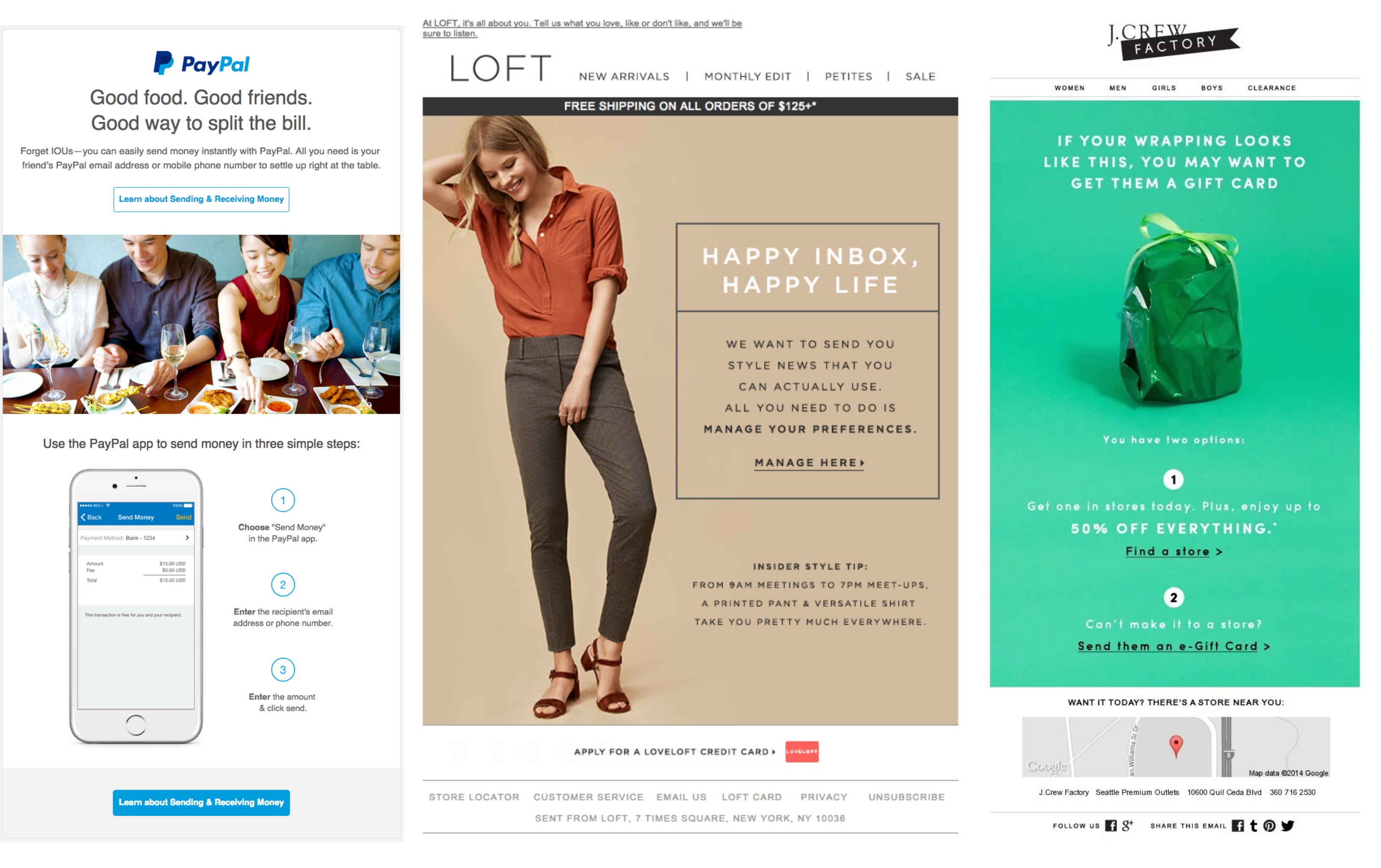 Email Marketing Examples from PayPal Loft and JCrew